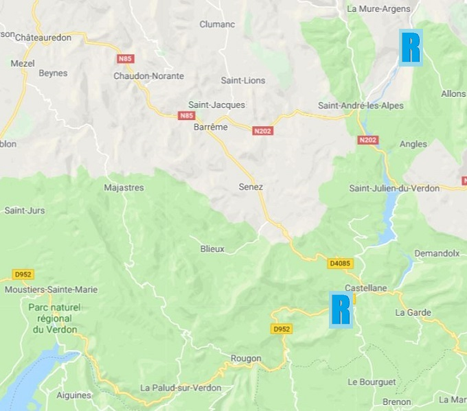 Carte des sites de Rafting dans le Verdon